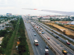 South Luzon Expressway (SLEX) traverses the major cities south of Metro Manila