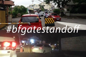 The ongoing saga of the #bfgatestandoff . [Photo credits: alabangbulletin.com, Marisa Suarez and Mike Gregor from Facebook]