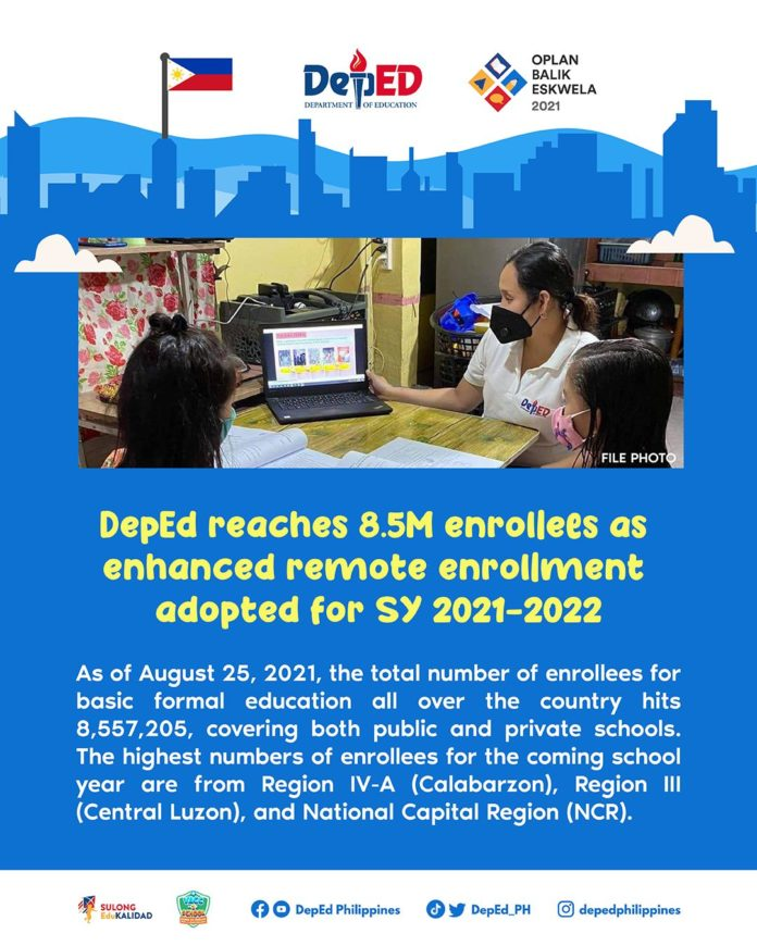 DepEd reaches 8.5M enrollees as enhanced remote enrollment adopted